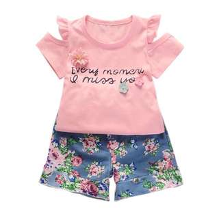 SB 037 Girls Summer Cute Off Shoulder Floral Set Wear