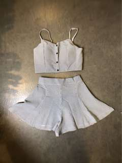 🚚 韓系細肩帶小可愛黑白格子短褲褲裙套裝