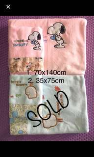 Soft baby towel ( pink colour ) 2 size in 1 set- refer picture