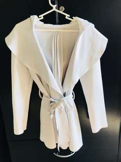 White trench coat with hoodie