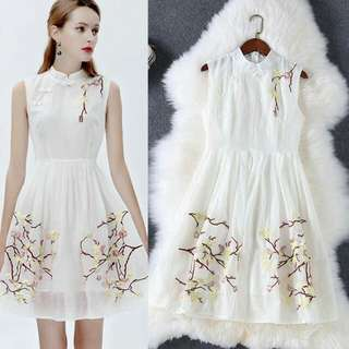 🍃Embroidered Print White Formal Dress