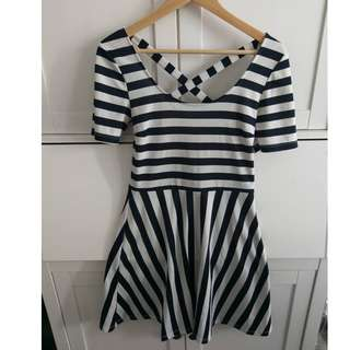 Size S H&M Black and White Stripe Dress