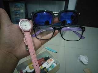 Kacamata II dan Jam Tangan hush puppies (kw) jual sepaket