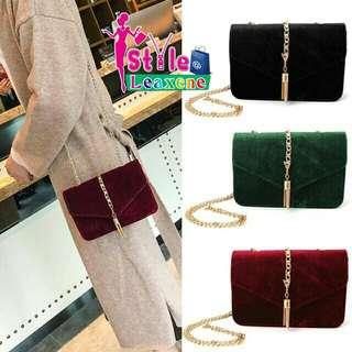 Velvet Tassel Chain Strap Bag