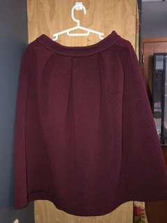 F21 maroon midi skirt