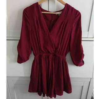 Near new Size 6 Deep Red Playsuit