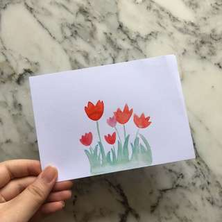 Hand Drawn Watercolor Floral Card