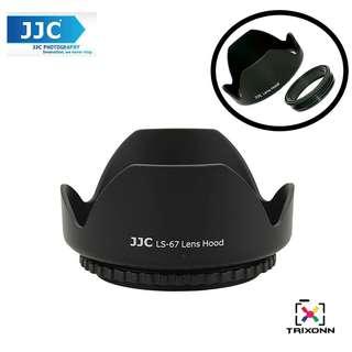 JJC LS-67 (67mm) Universal flower Screw-in Lens Hood for Standard Zoom Lens (Reverse Mount Possible)