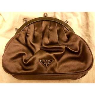 PRADA grey satin handbag