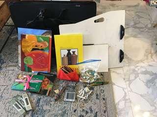 Art supplies - oil paint, oil pastel, charcoal, watercolor, pencil