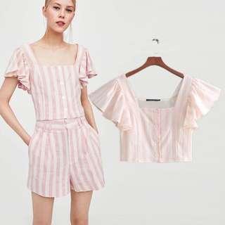 🚚 Summer style small fresh lotus leaf sleeve striped print short shirt + striped high waist shorts female
