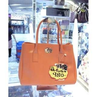 Furla Orange Leather Shoulder Handbag Hand Bag 橙色 牛皮 皮革 手挽袋 手袋 肩袋 袋