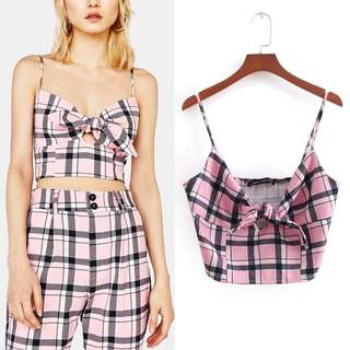 🚚 Europe and the United States retro Plaid print bow tie strap top
