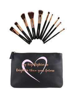 BEAUTY CREATIONS COSMETICS 10PC BRUSH SET - LIKE A DIAMOND