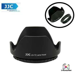 JJC LS-72 (72mm) Universal flower Screw-in Lens Hood for Standard Zoom Lens (Reverse Mount Possible)