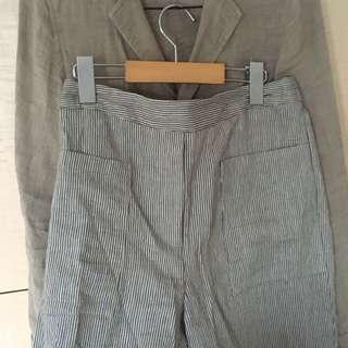 Zara 棉麻條紋褲