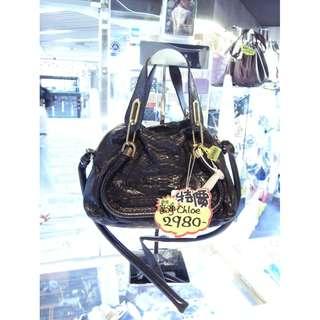 Chloe Black Leather Classic Style Shoulder Handbag Hand Bag 克蘿伊 黑色 牛皮 皮革 蛇紋 壓紋 經典款 手挽袋 手袋 肩袋 袋