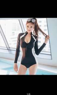 Long sleeve black swimsuit