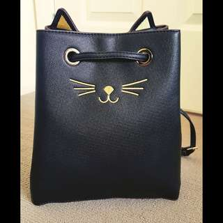 Cat Face Embroidered Crossbody Bucket Bag