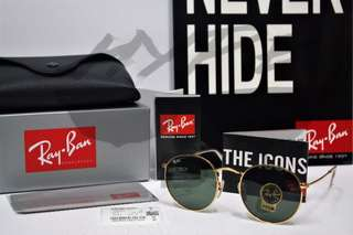 Authentic Ray Ban Round Metal RB3447 001 50MM