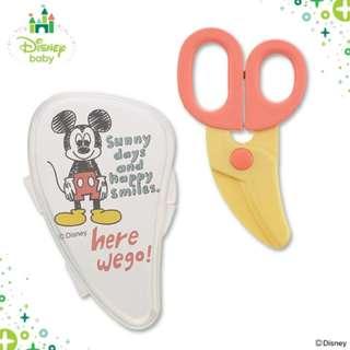 「日本帶回」正版 米奇 食物剪刀 嬰兒 baby Disney 附收納盒