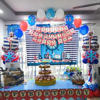 Nautical themed balloon column with helium arc @ zoeyhandiwork