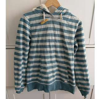 Billabong Size 10 Thick Blue and White Stripe Hooded Jumper