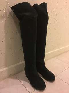 品牌麂皮內增高過膝保暖長靴