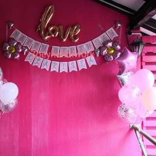 Diy happy birthday and customised name bunting with balloon wall decorations @ zoeyhandiwork