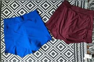 Blue and Maroon Skorts