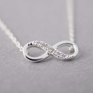 infinity crystal necklace silver