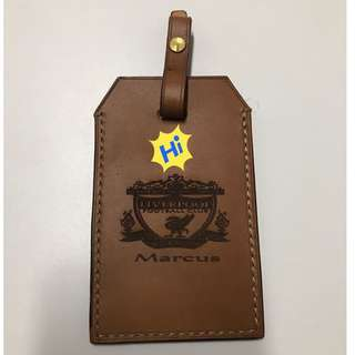 Luggage Tag genuine leather, engrave your favorite football club. Liverpool