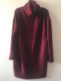 Korean Maroon Sweater Dress