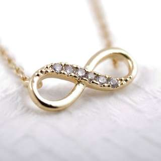 infinity crystal necklace gold
