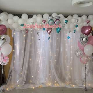 Fairy lights backdrop with balloon garlands and helium clusters designed @ zoeyhandiwork, for wedding, ROM or birthday parties