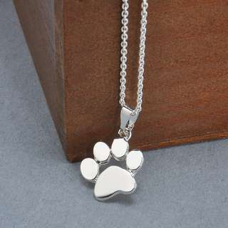 silver paw dog chain necklace pendant cute