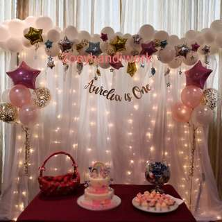 Twinkle twinkle little stars - fairy lights backdrop with balloon garlands and helium clusters with stars drops