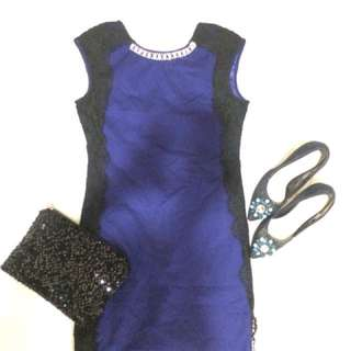 Dress brokat navy