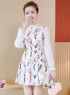 Long-Sleeve: White Stand Collar Floral A-Line Dress (S / M / L / XL) - OA/XKD081418