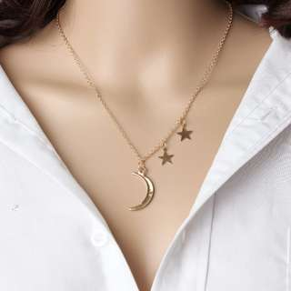 triple moon star necklace gold
