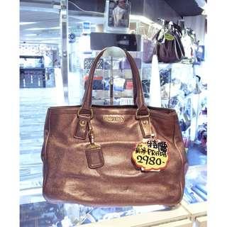Prada Metal Brown Leather Shoulder Handbag Hand Bag 普拉達 金屬啡色 真皮 皮革 手挽袋 手袋 肩袋 袋