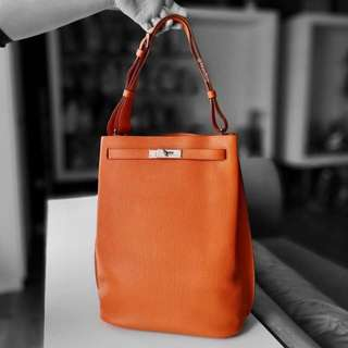 Authentic Hermes Orange Togo So Kelly 26