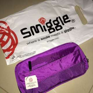 Smiggle purple and black pencil case