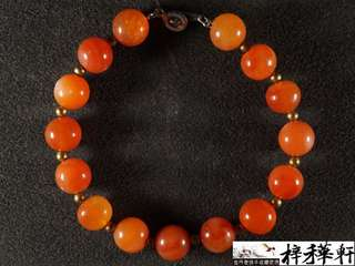 【清瑪】清代老紅瑪瑙圓珠手串念珠一串