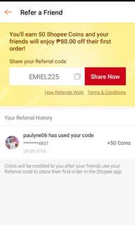 Php.80 off on your first order on Shopee! Use my code