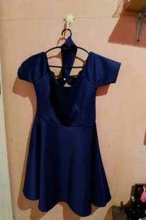 Off Shoulder Navy Blue Formal Dress