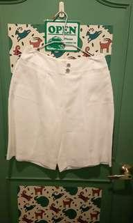 🚚 CHANEL麻褲裙白色40