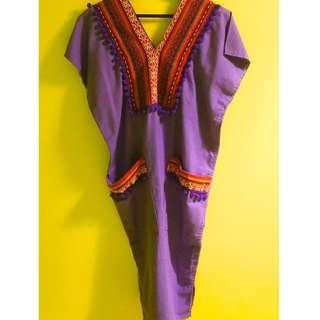 紫色民族風格裙
