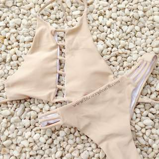 NEW TWO PIECE CREAM HALTER CAGED BIKINI SWIMWEAR