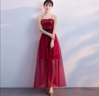 New wine red off shoulder strap Evening Dress